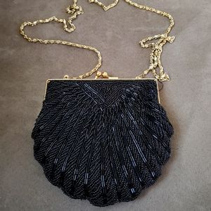 Black Scalloped Beaded Clutch Formal Evening bag